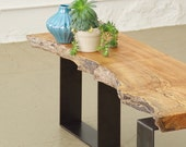 CUSTOM RESERVE for Shannon - live edge maple bench from urban salvage wood and high recycled content steel - north | west bench