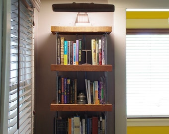 reclaimed wood bookshelf - bookcase - shelving - modern industrial - from old growth fir and recycled content steel