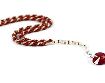 Red Heart Necklace - Beaded Necklace - Seed Bead Jewelry - Bead Rope Necklace - Red Rope Chain - Beadwork Jewelry