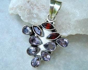 Vintage 925 Silver Pendant Amethyst Garnet Gemstones Abstract