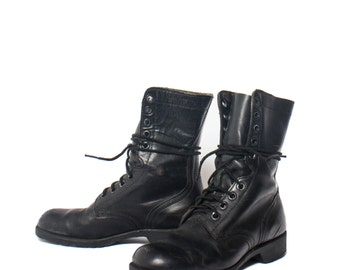 6 W | 1970's Vintage Combat Boots Lace Up Black Leather Military Boots