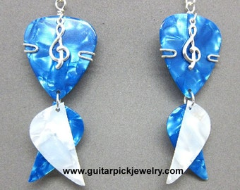 Guitar Pick Earrings - Blue and white dangle earrings