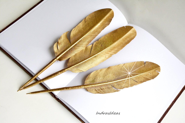 Gold Feather Pen Wedding Guest Book Pen Gold Feather Ball