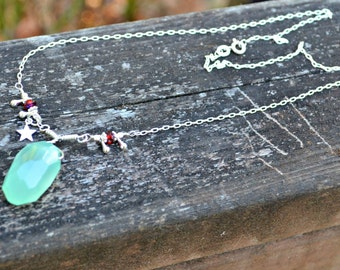 Aqua Blue Chalcedony Necklace with Sterling Silver star charm and sparkling red Czech glass beads handmade jewelry gift