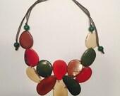 Bib Tagua Slices Necklace/ Tagua Jewelry / Tagua Statement Necklace