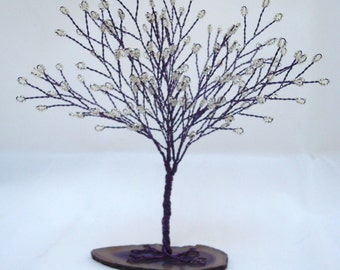 Purple Tree of Life, Purple and White Tree Wedding Cake Topper, Wire Wrapped Tree Centerpiece, White Seed Bead Tree
