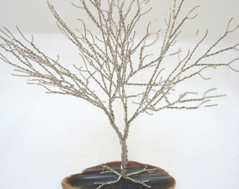 Silver Tree of Life, Tree Sculpture Party Favor, Wire Tree of Life, Silver Agate Wire Wrapped Tree Sculpture