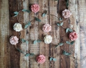 Wool Felt Flower Garland -Wall Hanging - Home Decor - Nursery Decorations - in Vintage Pink, Wheat and Ecru - or choose custom colors