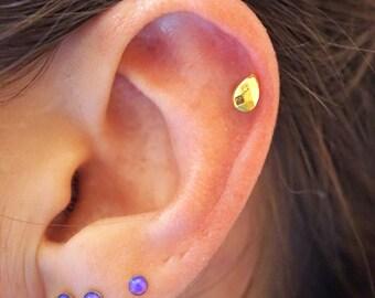 Gold Cartilage Earring Tragus Earring Helix Earring Teardrop