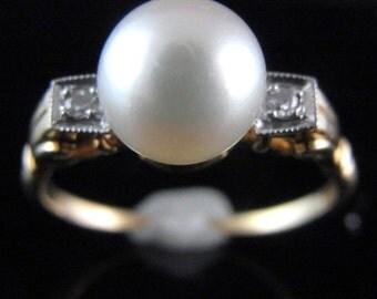 Larter & Sons Retro Pearl Diamonds 14k Yellow White Gold Ring Estate Vintage