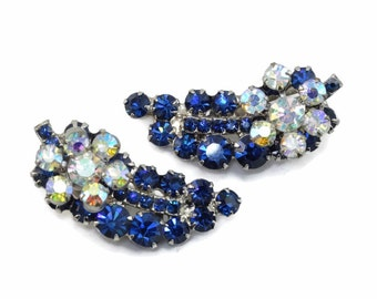 Vintage D&E JULIANA Montana Blue Rhinestone Flower Spray Earrings Ear Climbers Book Piece!