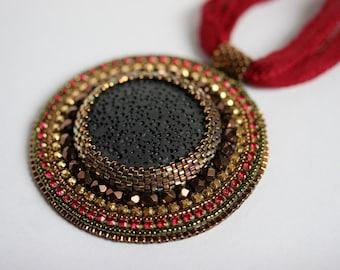 Beaded Necklace Lava O.O.A.K