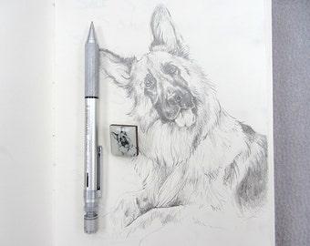 Alsation, German Shepherd Dog Drawing Tile brooch.
