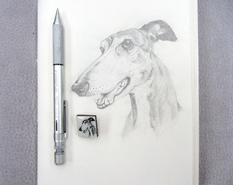 Greyhound Dog Drawing Tile brooch.