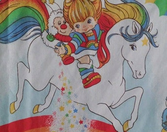 Vintage 1983 Rainbow Brite twin sheet by Hallmark Cards *flat sheet ONLY*