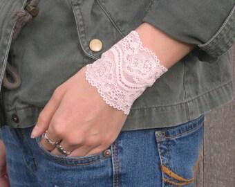 Lace Cuff Bracelet, Pink Wrist Cuff, Shabby Chic Bracelet, Boho Bracelet