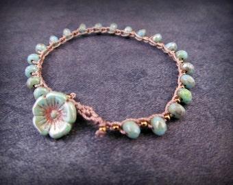 Boho Beaded Crochet Bracelet - Turquoise Crochet Jewelry with brass accents, Flower Bracelet
