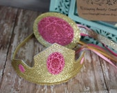 Sleeping Beauty Tiara and Wand Set- Glitter and Felt Dress Up Accessory