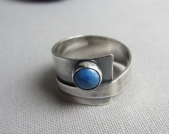 Wide Silver Ring/ Wide Silver Band/ Lapis Ring/ Metalsmith Ring/ Oxidized Silver Ring/ Contemporary ring/ Statement ring