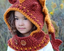 CROCHET PATTERN - Lucky Dragon Hood & Cowl - a crochet dragon hooded cowl pattern (Toddler/Child/Adult sizes) - Instant PDF Download