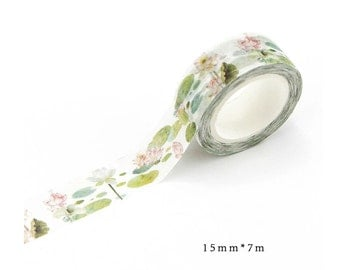 Watercolor Lotus Pond Washi Tape (15mm X 7M)