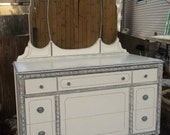 Reserved for Alley....Vintage White Dresser with Mirror - Shabby Chic Painted Furniture