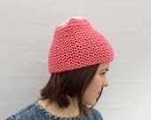 Wool Beanie, Chunky Hat, Coral Beanie, Colour Blocked Hat, Women's Hat