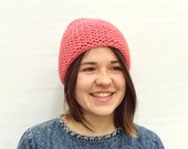 Wool Hat, Chunky Beanie, Coral Pink Gray Beanie, Colour Blocked Hat, Winter Hat