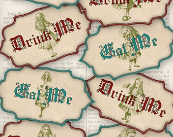 Drink Me Eat Me Tags Alice in Wonderland Printable Decor Party Favors paper crafting instant download digital collage sheet - VDLAAL1243