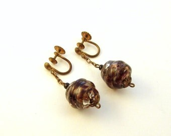 Murano Sommerso Glass Screw Back Earrings - Art Deco Era - Made in Italy - Venetian Glass Drop Bead Earrings