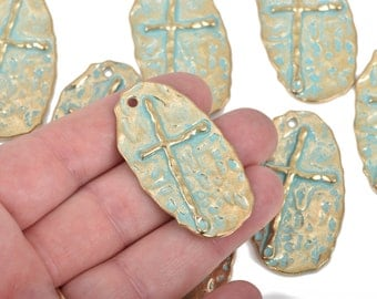 "5 Hammered Gold Cross Pendant Charms, Light Gold with blue green verdigris patina, large oval 1-7/8"" long, chg0485"
