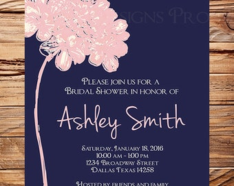 Hydrangea Bridal Shower Invitation,  Navy Pink, Bridal Invitation, Pink Hydrangea, Navy, Bridal Shower, Pink, digital, 5283