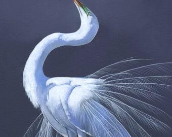 Great Egret print of Acrylic painting GE1715 - A3 size, bird art, wall art, home decor wall art print - bird art print