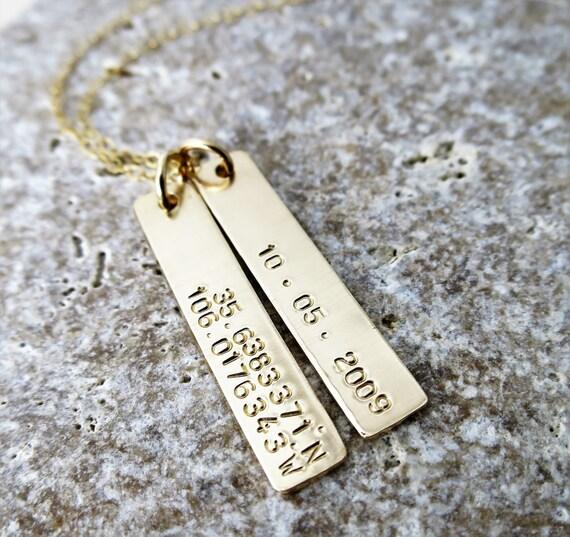 Latitude Longitude Jewelry - Gold Bar - Gold Fill - Custom Necklace - Personalized - Dates or Coordinates