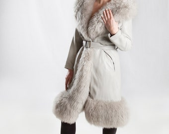 1960's Grey Leather and Shearling  Princess Coat