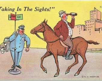 "Man Backwards on Horse Looking Through Wine Bottle w/ Cop Watching ""Taking In The Sights"" Funny Vintage Postcard Linen"