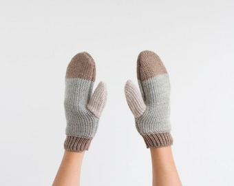 Wool winter gloves - handmade knitting grey, brown and beige hand gloves
