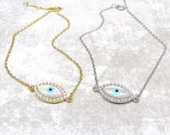 CZ Evil Eye Bracelet - Gold Evil Eye Bracelet - Silver Evil Eye Bracelet