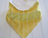 SALE/Bandana Bib, Baby Bandana, Bibdana/6 mo.--3 years/Herringbone Yellow/Organic Flannel Back