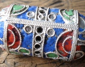 Large Moroccan enamel focal  ornate long barrel bead pendant - red green and blue ends  (Q)