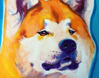 Akita, Pet Portrait, DawgArt, Dog Art, Akita Art, Pet Portrait Artist, Colorful Pet Portrait, Pet Portrait Painting, Art Prints, Art