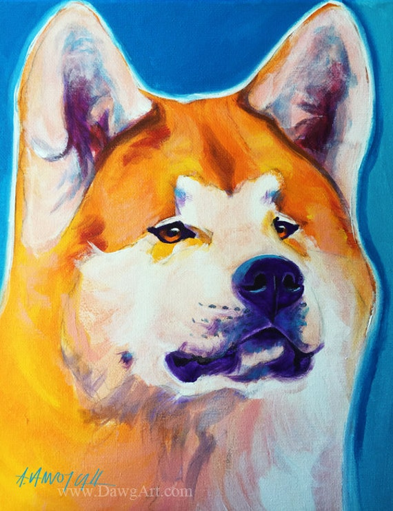 Akita, Pet Portrait, DawgArt, Dog Art, Akita Art, Pet Portrait Artist, Colorful Pet Portrait, Pet Portrait Painting, Art Prints, Art