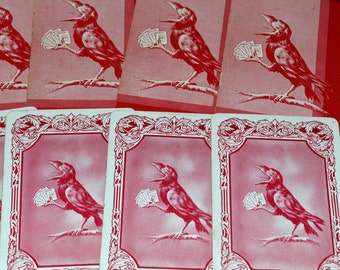 Lot of 20 Unusual Raven Playing Cards - Antique / Original Rook Cards - Altered Art / Collage / MIxed Media Supply - Spooky Ephemera