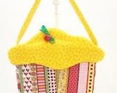 CupCake Purse small purse cloth purse fabric gift bag yellow Christmas birthday Easter Valentines CC155