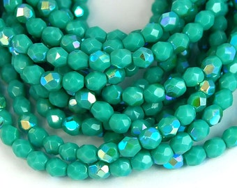 Opaque AB Turquoise Czech Glass Faceted Bead 4mm Round - 50 Pc