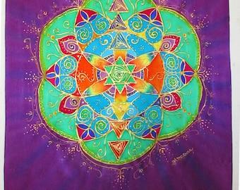 Silk Mandala wall hanging, spiritual gift,sacred geometry, seedof life, chakra art, reiki art, silk art, spiritual, mandala art, meditation,