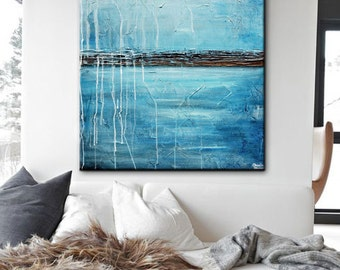 ORIGINAL Large Art Blue Abstract Painting Wall Art Modern Acrylic Painting Home Decor Coastal Wall Decor Textured Palette Knife - Christine
