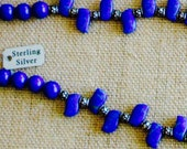 Lapis Waves and Bali Silver Necklace