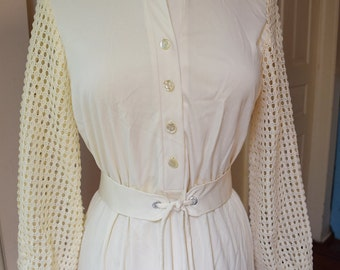 Mod Cream Cutwork Lace Sheer Sleeve Dress 1960s Boho Hippie Dress