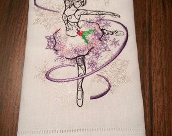 Sugar Plum Fairy: Embroidered Linen Towel